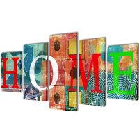 """Spalvingas Fotopaveikslas su Užrašu """"Home"""" ant Drobės 100 x 50 cm"""