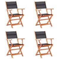 vidaXL Sodo kėdės, 4vnt., juodos, eukalipto masyvas ir tekstilenas