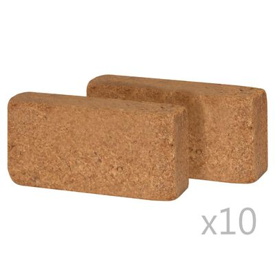 vidaXL Kokoso pluošto blokai, 20vnt., 20x10x4cm, 650 g