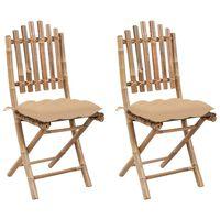 vidaXL Sulankstomos sodo kėdės su pagalvėlėmis, 2vnt., bambukas