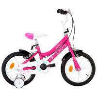 vidaXL Vaikiškas dviratis, juodos ir rožinės spalvos, 14 colių ratai