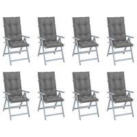 vidaXL Atlošiamos sodo kėdės su pagalvėlėmis, 8vnt., pilkos, akacija