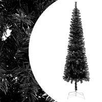 vidaXL Siauria Kalėdų eglutė, juodos spalvos, 180cm