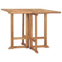 vidaXL Sulankstomas sodo stalas, 90x90x75cm, tikmedžio masyvas