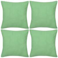 4 Šviesiai Žali Pagalvėlių Užvalkalai, Medvilnė, 50 x 50 cm