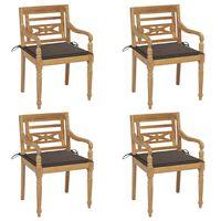 vidaXL Batavia kėdės su pagalvėlėmis, 4vnt., tikmedžio masyvas