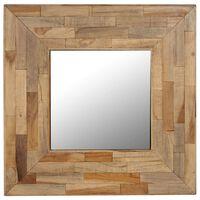 vidaXL Veidrodis, 50x50cm, perdirbta tikmedžio mediena