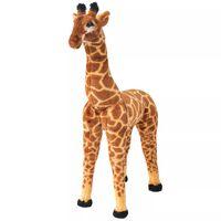 vidaXL Stovintis pliušinis žaislas žirafa, ruda ir geltona, XXL