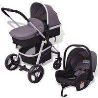 vidaXL 3-in-1 Vaikiškas sulankstomas vežimėlis, pilkas ir juodas, aliuminis
