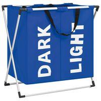 vidaXL 2 skyrių skalbinių rūšiavimo krepšys, mėlynos spalvos