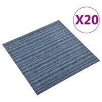 vidaXL Kiliminės plytelės, 20vnt., mėlynos, 50x50cm, 5m², dryžuotos