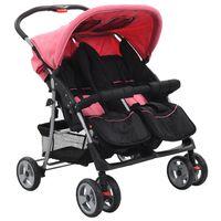 vidaXL Vaikiškas vežimėlis dvynukams, rožinės ir juodos spal., plienas