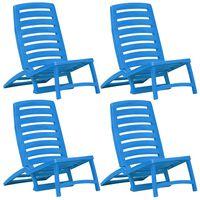 vidaXL Sulankstomos paplūdimio kėdės, 4 vnt., mėlynos, plastikas