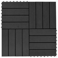 vidaXL Grindų plytelės, 11vnt., juodos spalvos, 30x30cm, 1m², WPC