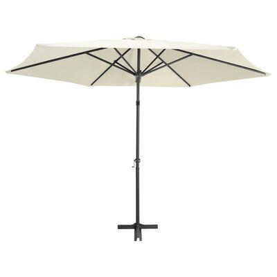 vidaXL Lauko skėtis su plieniniu stulpu, smėlio baltos spalvos, 300cm