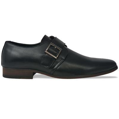 vidaXL Vyriški batai su sagtimi, juodi, dydis 44, PU oda