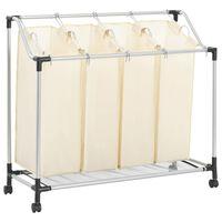 vidaXL Stovas su 4 skalbinių rūšiavimo krepšiais, krem. sp., plienas