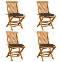 vidaXL Sodo kėdės su taupe spalvos pagalvėlėmis, 4vnt., tikmedis