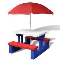 vidaXL Vaik. išk. stalas su suol. ir skėčiu nuo saulės, įv. sp.