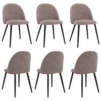 vidaXL Valgomojo kėdės, 6vnt., rožinės, audinys (288615+320420)