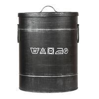 LABEL51 Skalbinių dėžė, juoda, 32x32x43cm, senovinio dizaino, M
