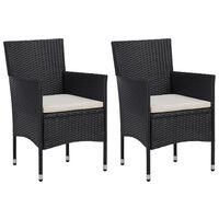 vidaXL Sodo valgomojo kėdės, 2 vnt., juodos spalvos, poliratanas