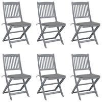 vidaXL Sulankstomos lauko kėdės su pagalvėmis, 6vnt., akacijos masyvas