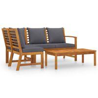 vidaXL Sodo baldų komplektas su pagalvėmis, 4 dalių, akacijos masyvas