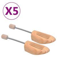 vidaXL Kurpaliai, 5 poros, pušies medienos masyvas, 44-45 dydžio