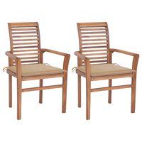 vidaXL Valgomojo kėdės su smėlio spalvos pagalvėlėmis, 2vnt., tikmedis