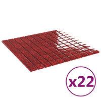 vidaXL Mozaikinės plytelės, 22vnt., raudonos, 30x30cm, stiklas