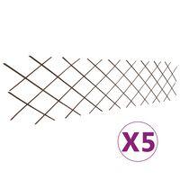 vidaXL Treliažo sienelės, 5 vnt., 180x60cm, gluosnis