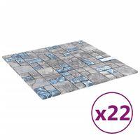 vidaXL Mozaikinės plytelės, 22vnt., pilkos/mėlynos, 30x30cm, stiklas