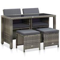 vidaXL Lauko valg. baldų kompl. su pagalv., 5d., pilk. sp., polirat.