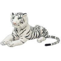 vidaXL Žaislas tigras, pliušinis, baltas, XXL