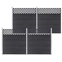 vidaXL Tvoros rinkinys, pilkos spalvos, 699x185cm, WPC, 4 kvadratinės