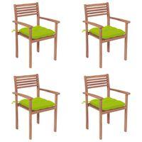 vidaXL Sodo kėdės su šviesiai žaliomis pagalvėlėmis, 4vnt., tikmedis