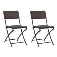 vidaXL Sulankstomos sodo kėdės, 2 vnt., rudos, HDPE ir plienas