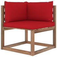 vidaXL Kampinė sodo sofa iš palečių su raudonomis pagalvėlėmis