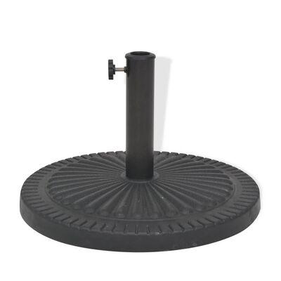 vidaXL Skėčio stovas iš dervos, apvalus, juodas, 14 kg