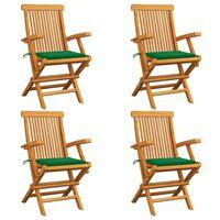 vidaXL Sodo kėdės su pagalvėlėmis, 4vnt., tikmedžio medienos masyvas