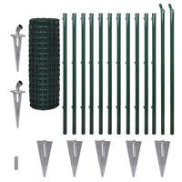 vidaXL Euro tvoros komplektas, žalias, 25x1,2m, plienas