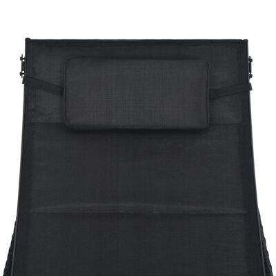 vidaXL Saulės gultas, juodas, poliratanas ir tekstilenas