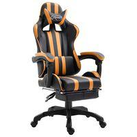 vidaXL Žaidimų kėdė su atrama kojoms, oranžinė, dirbtinė oda