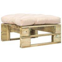 vidaXL Otomanė iš paletės su smėlio spalvos pagalve, žalia, mediena