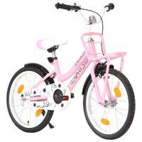 vidaXL Vaikiškas dviratis su priekine bagažine, rožinis ir juodas
