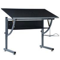 vidaXL Braižymo stalas paaugliams, juodos spalvos, 110x60x87cm, MDF