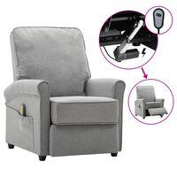 vidaXL Elektrinis atlošiamas masažinis krėslas, pilkas, audinys