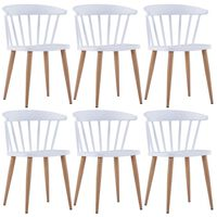 vidaXL Valgomojo kėdės, 6 vnt., baltos spalvos, plastikas (3x247287)