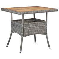 vidaXL Lauko valgomojo stalas, pilkas, poliratanas ir akacijos masyvas